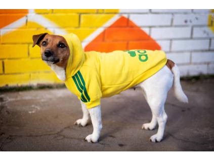 Adidog žlutá mikina pro psa - oblečky pro psy - vsepropejska.cz