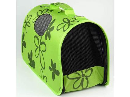 Handy zelená taška pro psa s květinami - tašky pro psy - vsepropejska.cz
