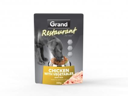 Grand restaurant kuřecí na zelenině s rýží kapsička pro psy   300g - vsepropejska.cz