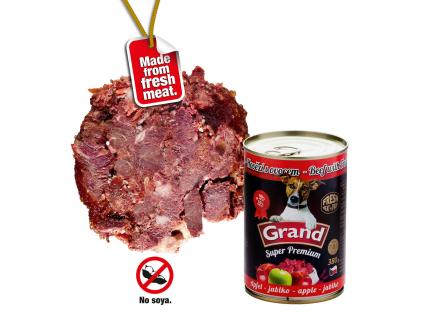 Grand superpremium hovězí-jablko konzerva pro psa | 380g - vsepropejska.cz