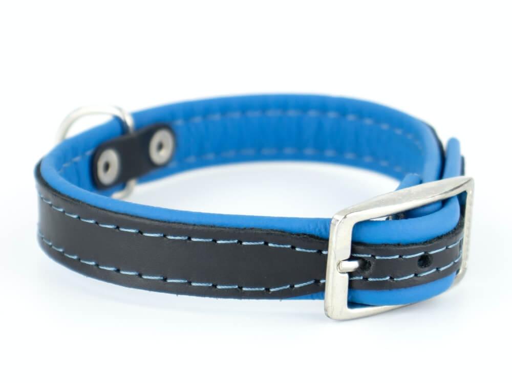 Vsepropejska Leather kožený obojek pro psa | 19 - 53 cm Barva: Modrá, Obvod krku: 19 - 23 cm