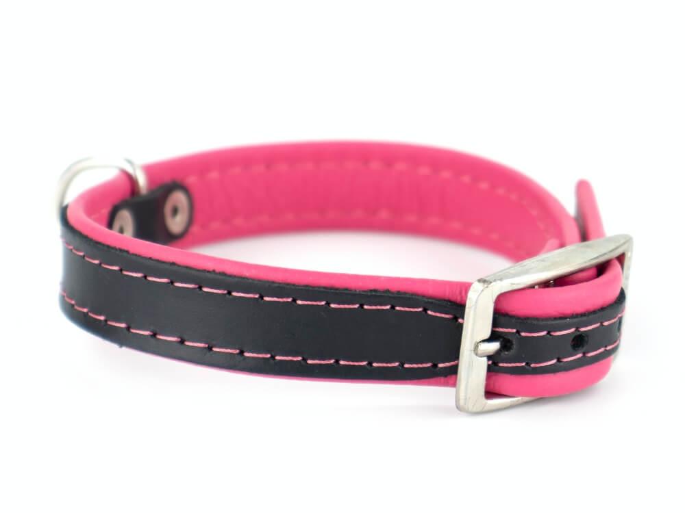 Vsepropejska Leather kožený obojek pro psa | 19 - 53 cm Barva: Růžová, Obvod krku: 26 - 31 cm
