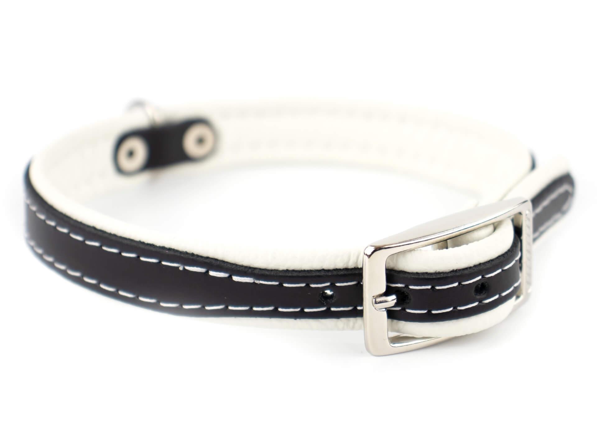 Vsepropejska Leather kožený obojek pro psa | 19 - 53 cm Barva: Bílá, Obvod krku: 22 - 27 cm