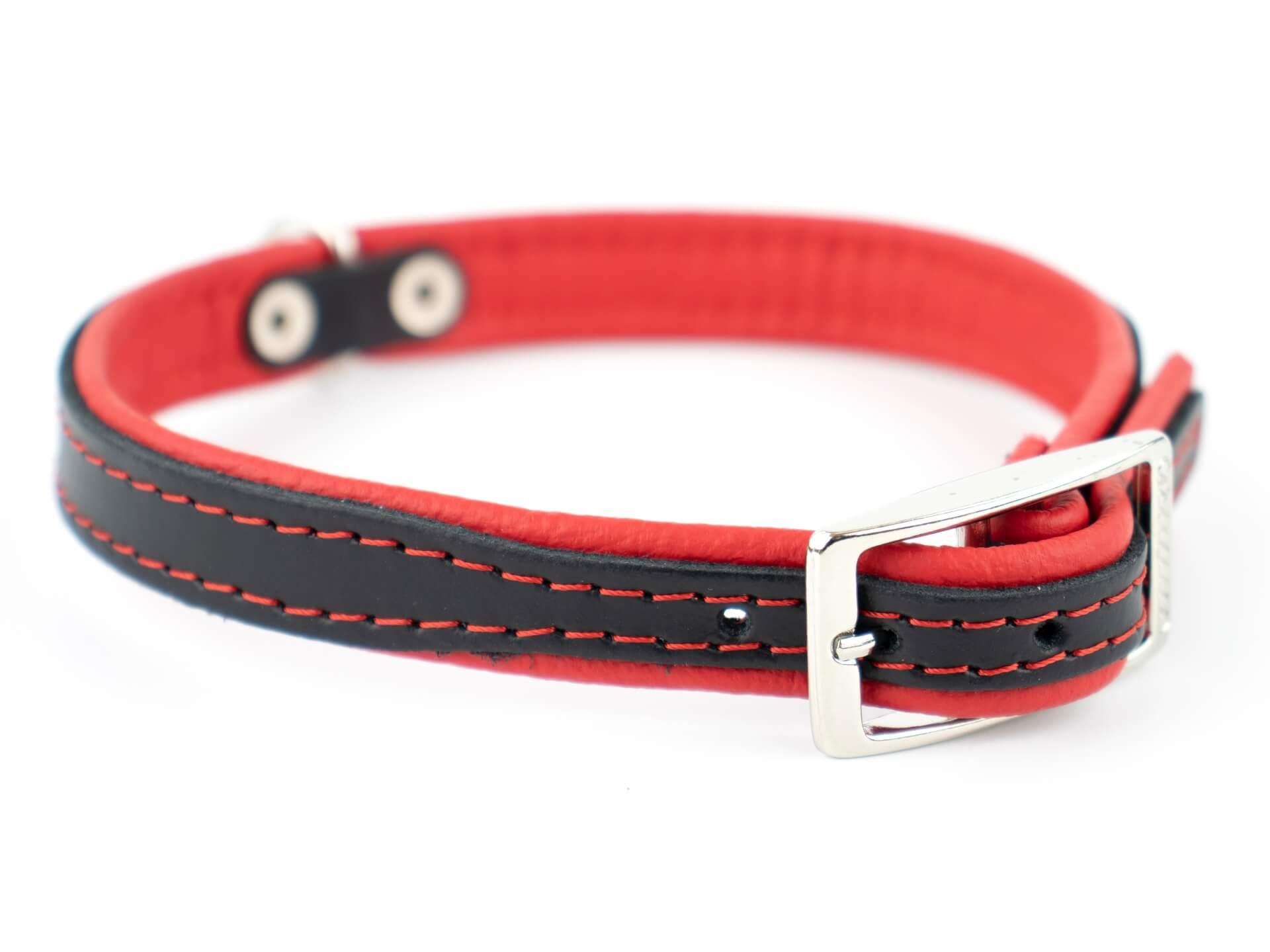 Vsepropejska Leather kožený obojek pro psa | 19 - 53 cm Barva: Červená, Obvod krku: 26 - 31 cm