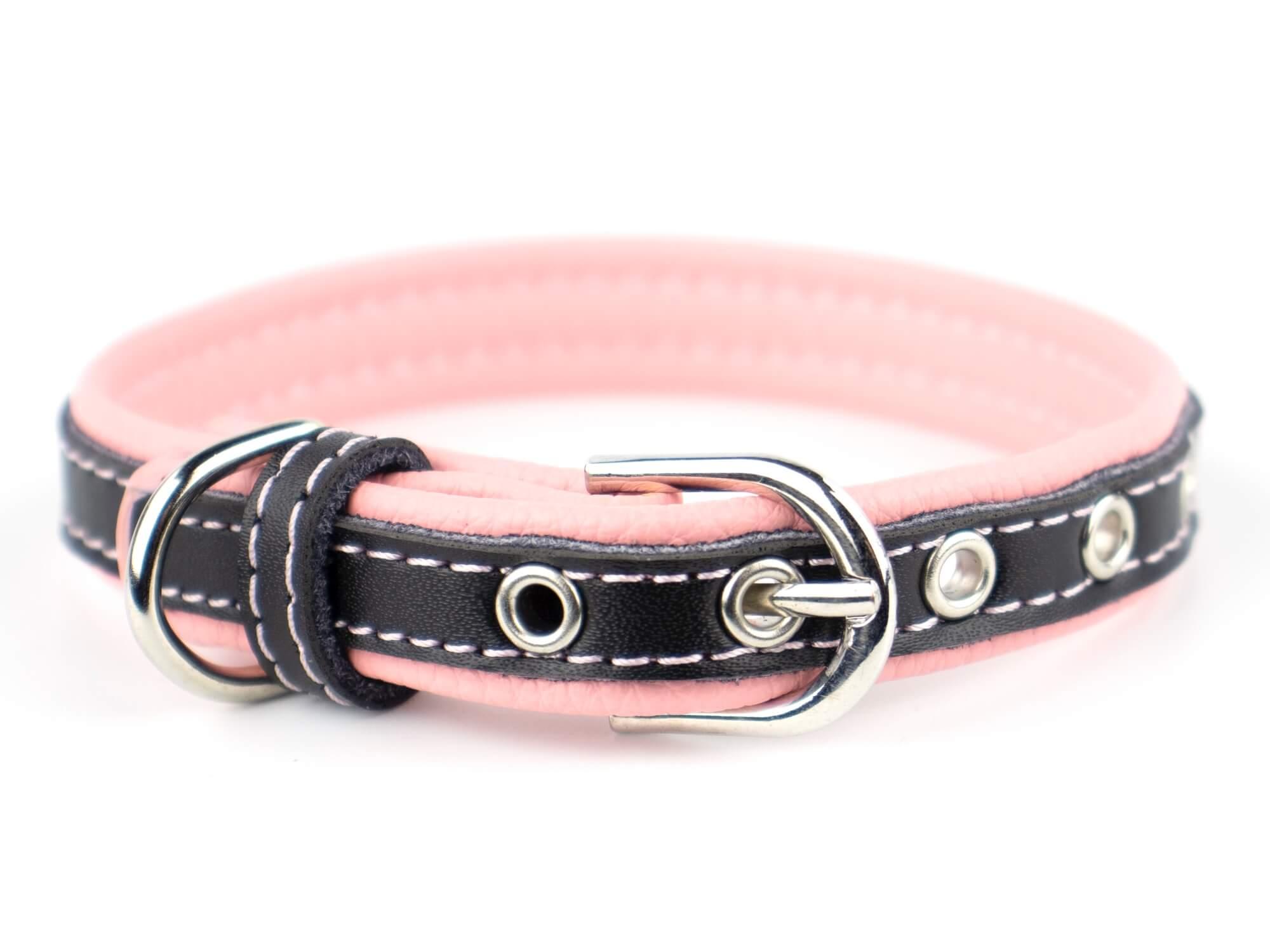 Vsepropejska Rose obojek pro psa | 22 - 34 cm Barva: Růžovo-černá, Obvod krku: 27 - 34 cm