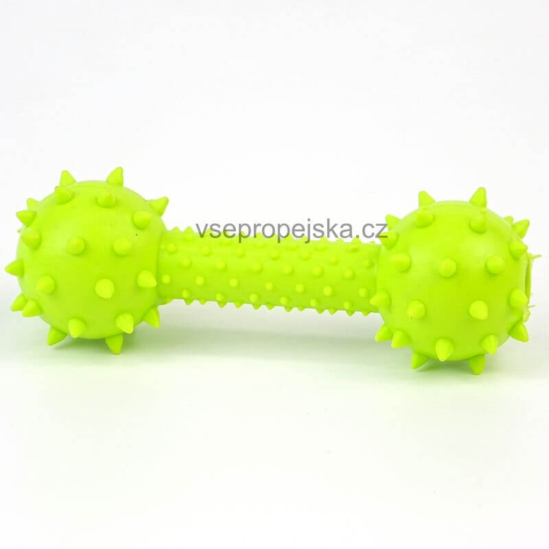 Vsepropejska Dumb gumová kost s rolničkou pro psa   15 cm Barva: Zelená