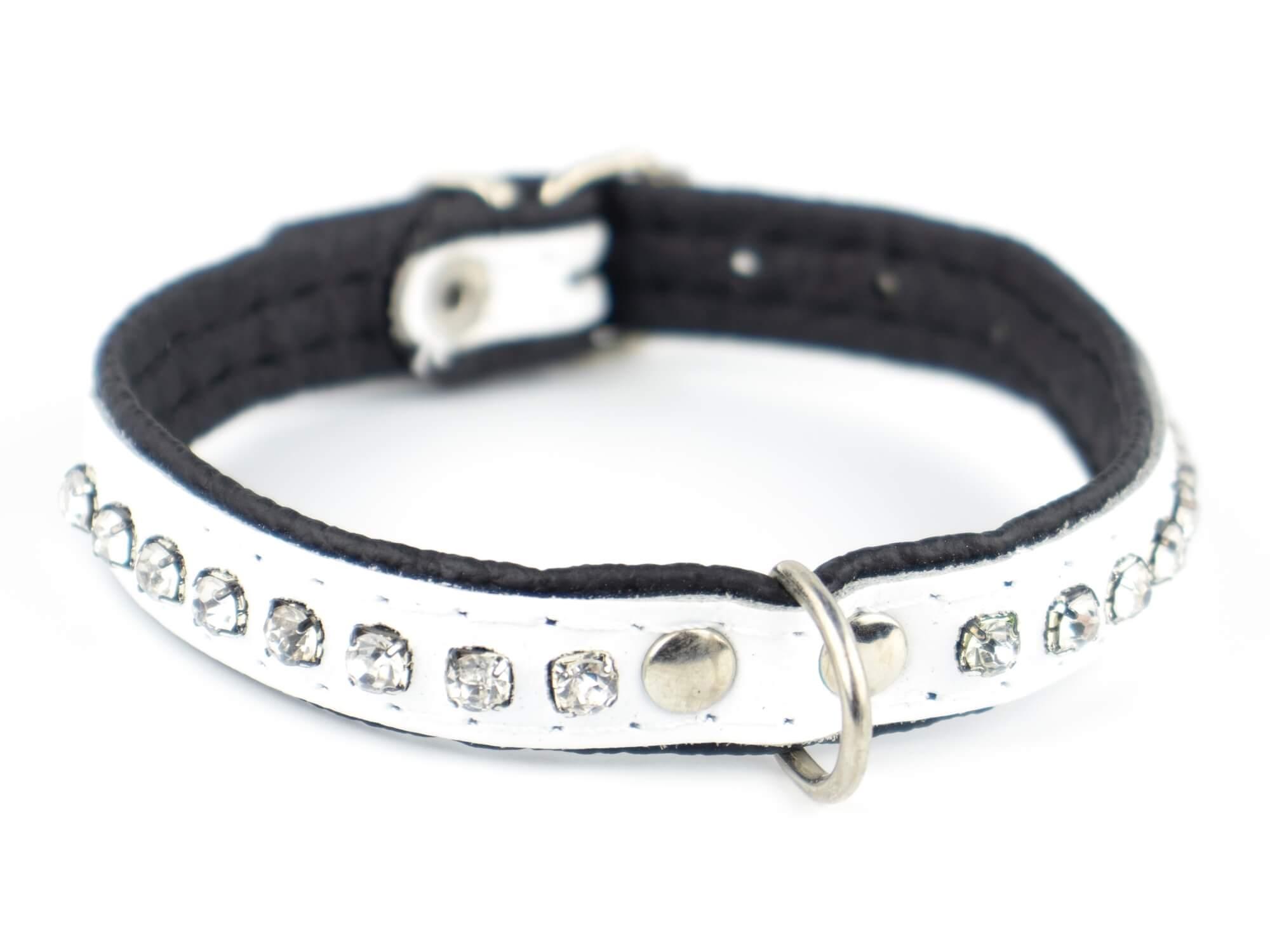 Vsepropejska Decor obojek pro psa s kamínky | 18 - 31 cm Barva: Bílá, Obvod krku: 23 - 28 cm