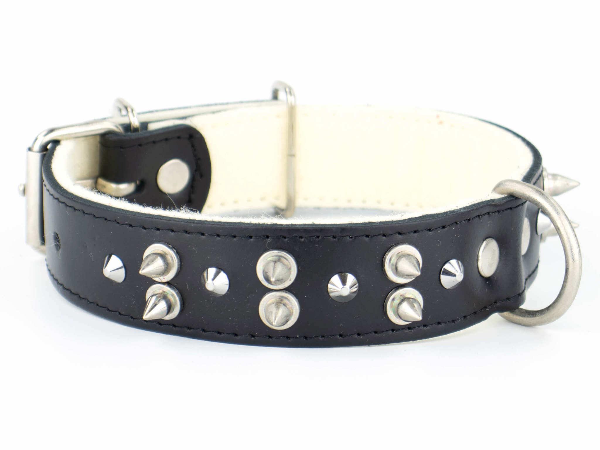 Vsepropejska Spike kožený obojek pro psa s ostny | 42 - 62 cm Barva: Černá, Obvod krku: 42 - 53 cm