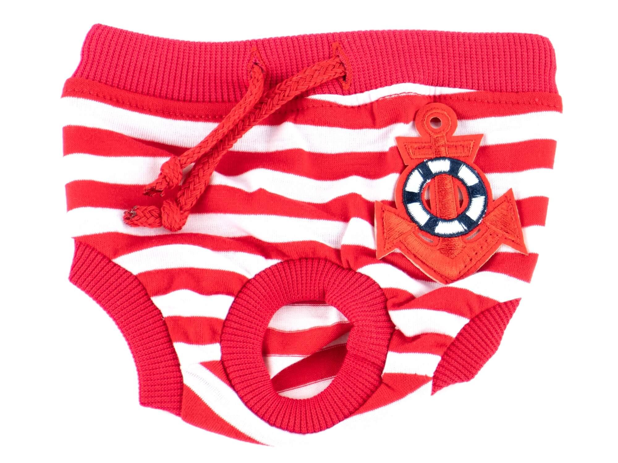 Vsepropejska Absorb červené hárací kalhotky pro psa s kotvou Obvod slabin: 43 - 58 cm