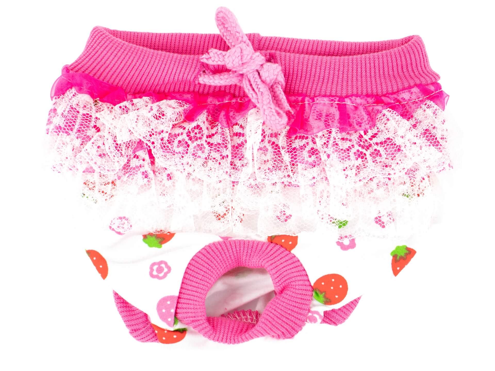 Vsepropejska Lace růžové hárací kalhotky pro psa Obvod slabin: 30 - 40 cm