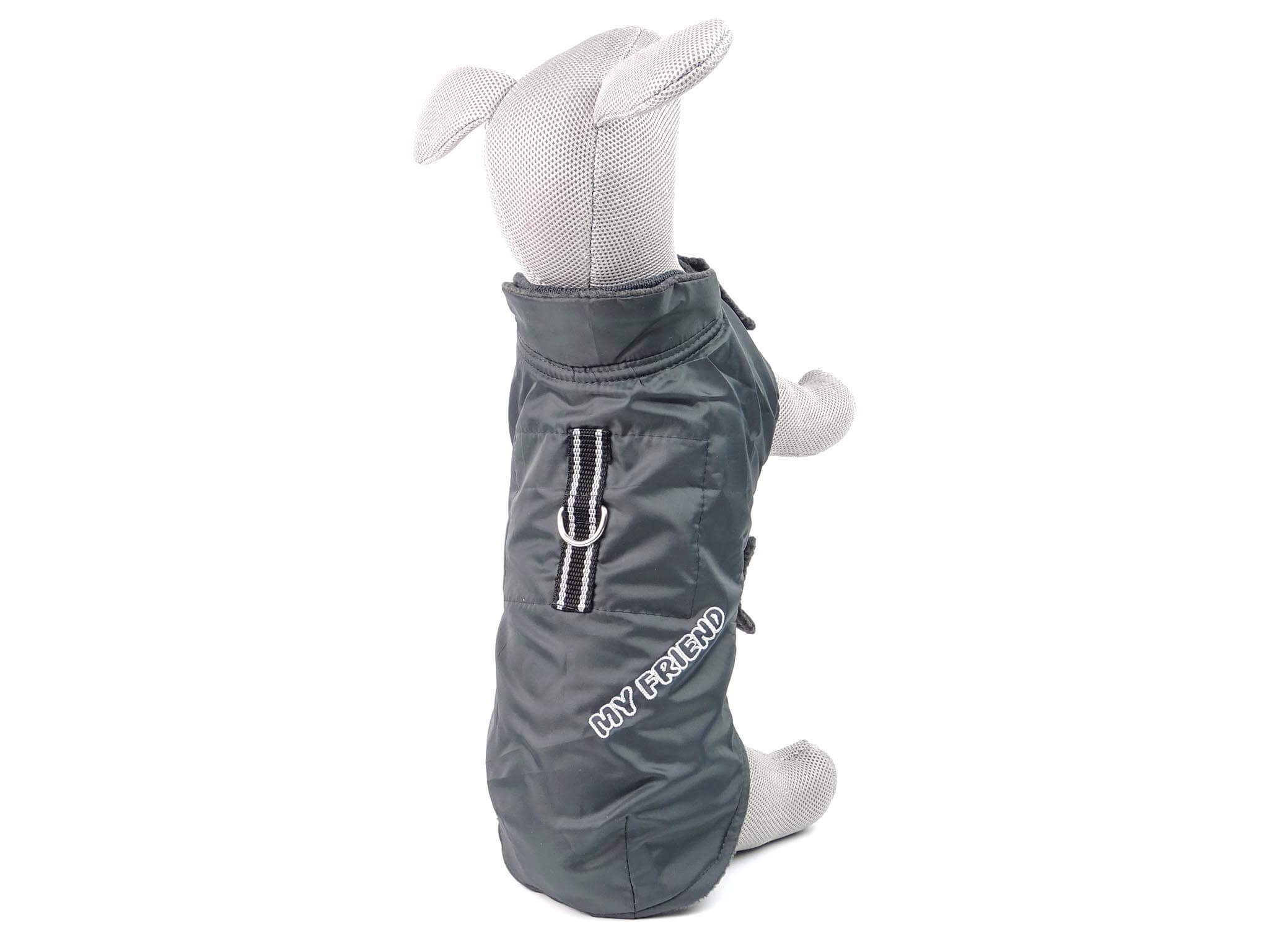 """Vsepropejska Snowy zimní bunda """"My friend"""" pro psa Barva: Šedá, Délka zad psa: 24 cm, Obvod hrudníku: 26 - 42 cm"""