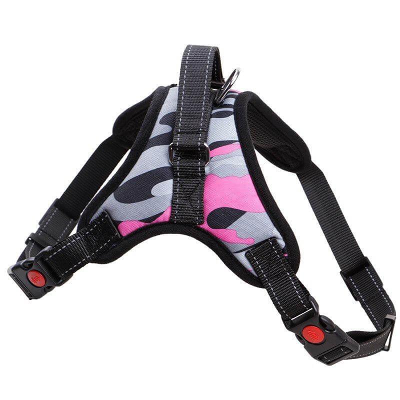 Vsepropejska Sporty růžový maskáčový postroj | 46 – 85 cm Barva: Šedo-růžová, Obvod hrudníku: 60 - 80 cm