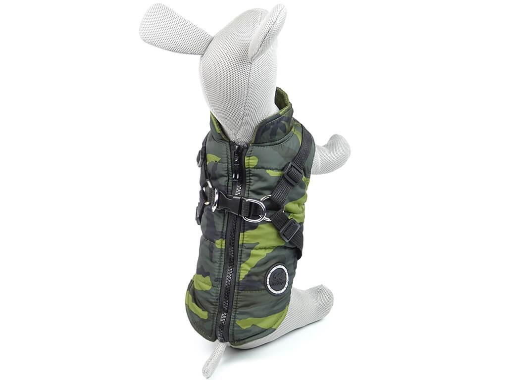 Vsepropejska Soldier maskáčová bunda pro psa na ZIP Barva: Zelená, Délka zad psa: 36 cm, Obvod hrudníku: 40 - 49 cm