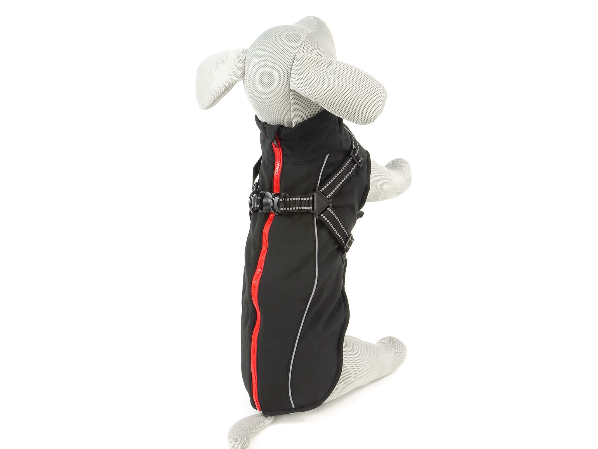 Vsepropejska Softshellová bunda pro psa s postrojem Barva: Černá, Délka zad psa: 41 cm, Obvod hrudníku: 50 - 55 cm