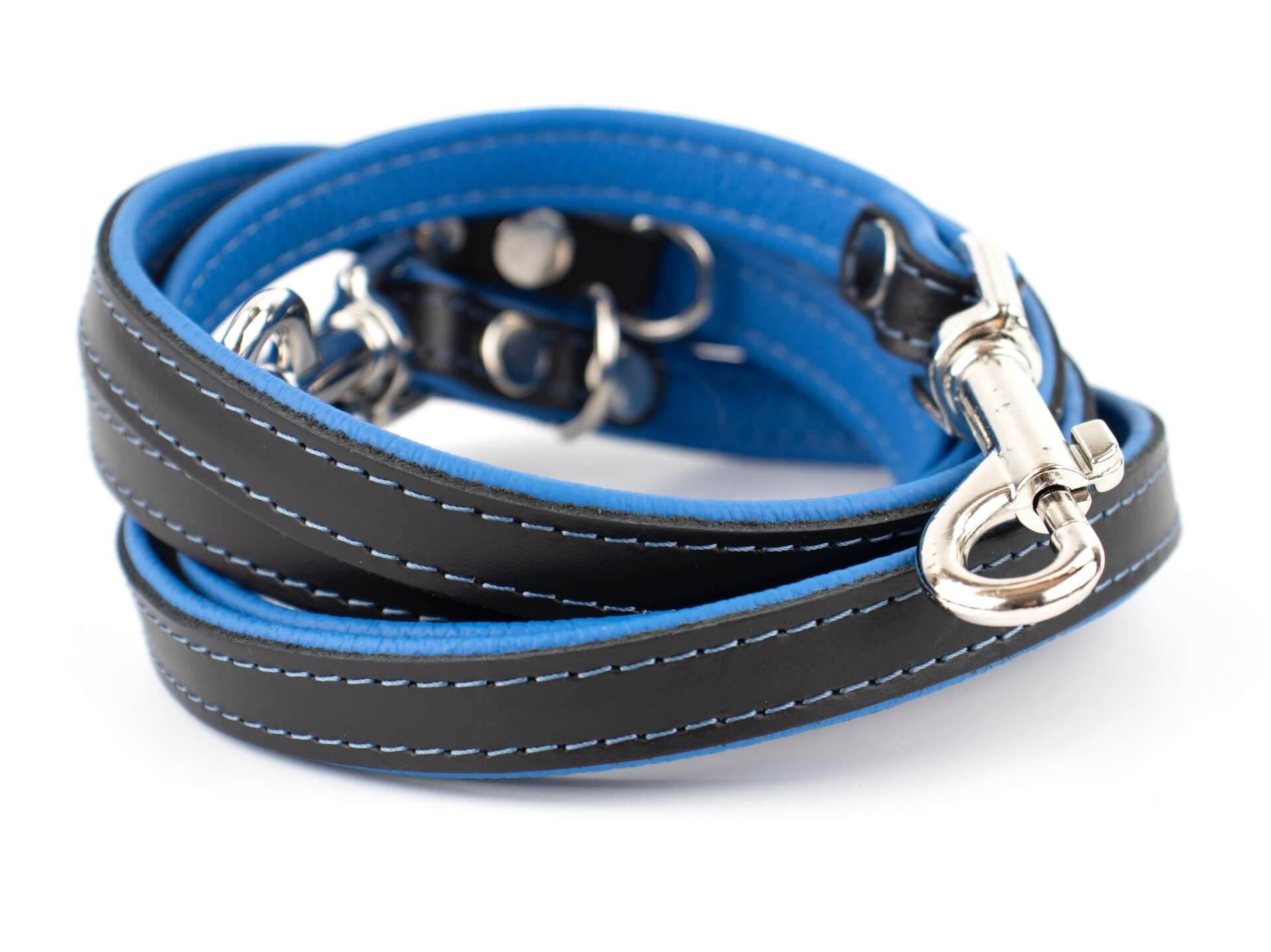 Vsepropejska Delux kožené přepínací vodítko pro psa | 220cm Barva: Černo-modrá