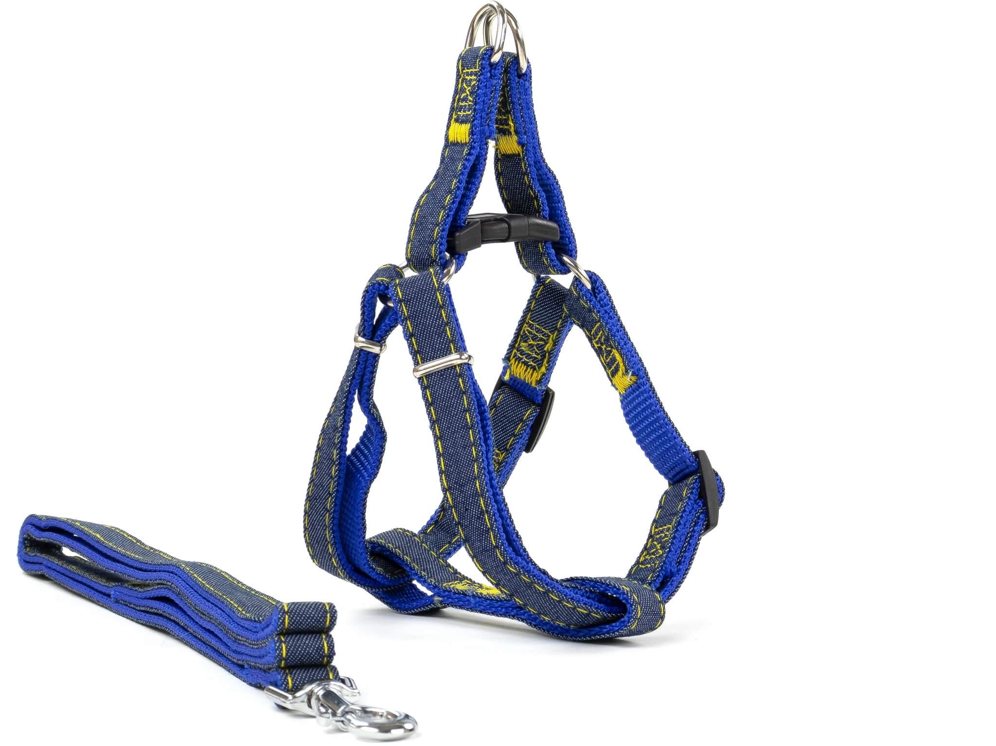 Vsepropejska Jeans riflový postroj pro psa s vodítkem | 23 – 63 cm Barva: Modrá, Obvod hrudníku: 23 - 36 cm