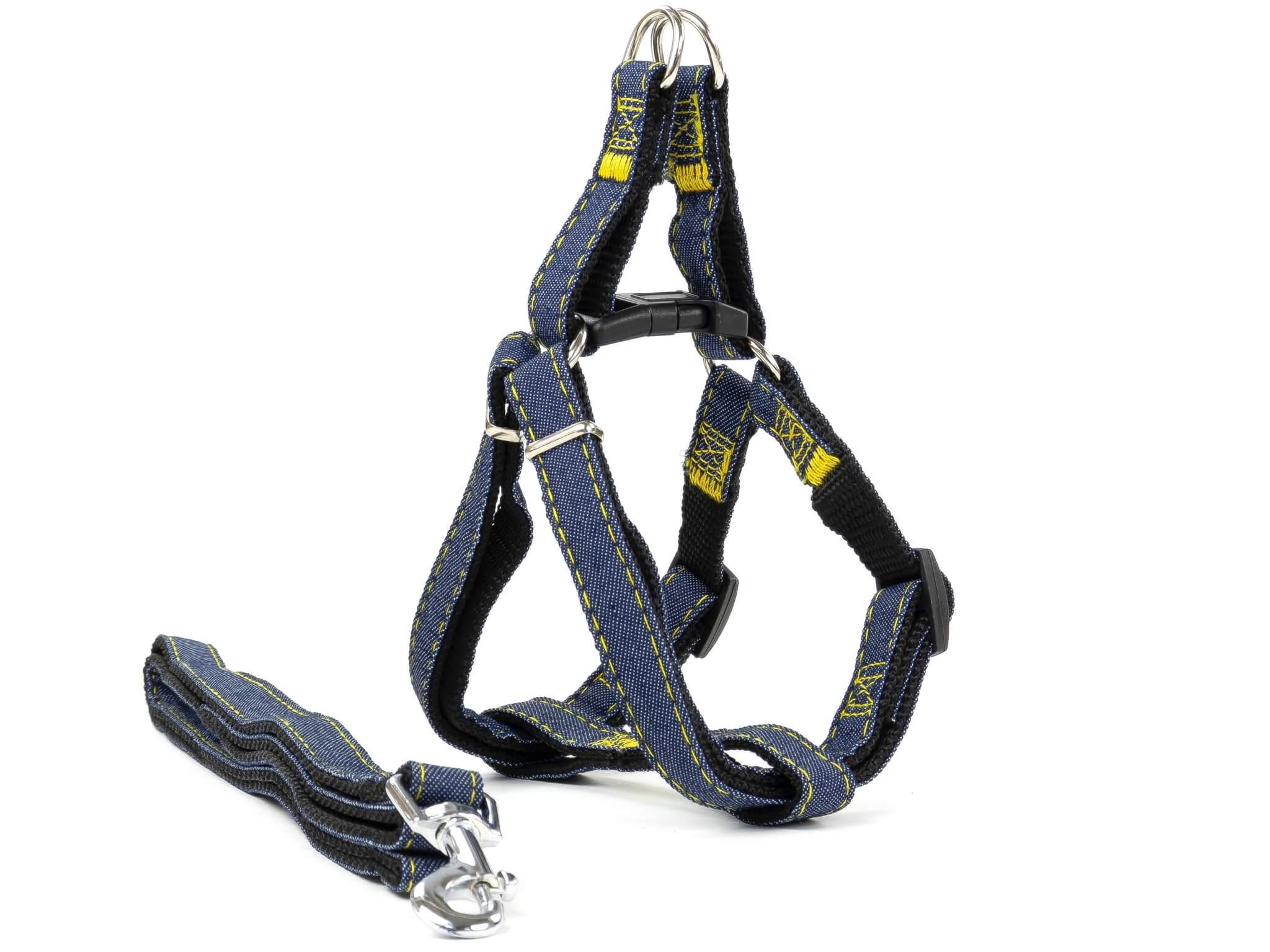 Vsepropejska Jeans riflový postroj pro psa s vodítkem | 23 – 63 cm Barva: Černá, Obvod hrudníku: 45 - 63 cm