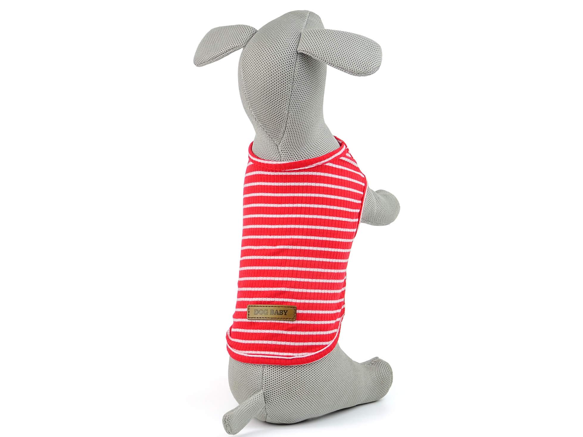 Levně Vsepropejska Dog pruhované tričko pro psa Barva: Červená, Délka zad psa: 21 cm, Obvod hrudníku: 30 - 33 cm