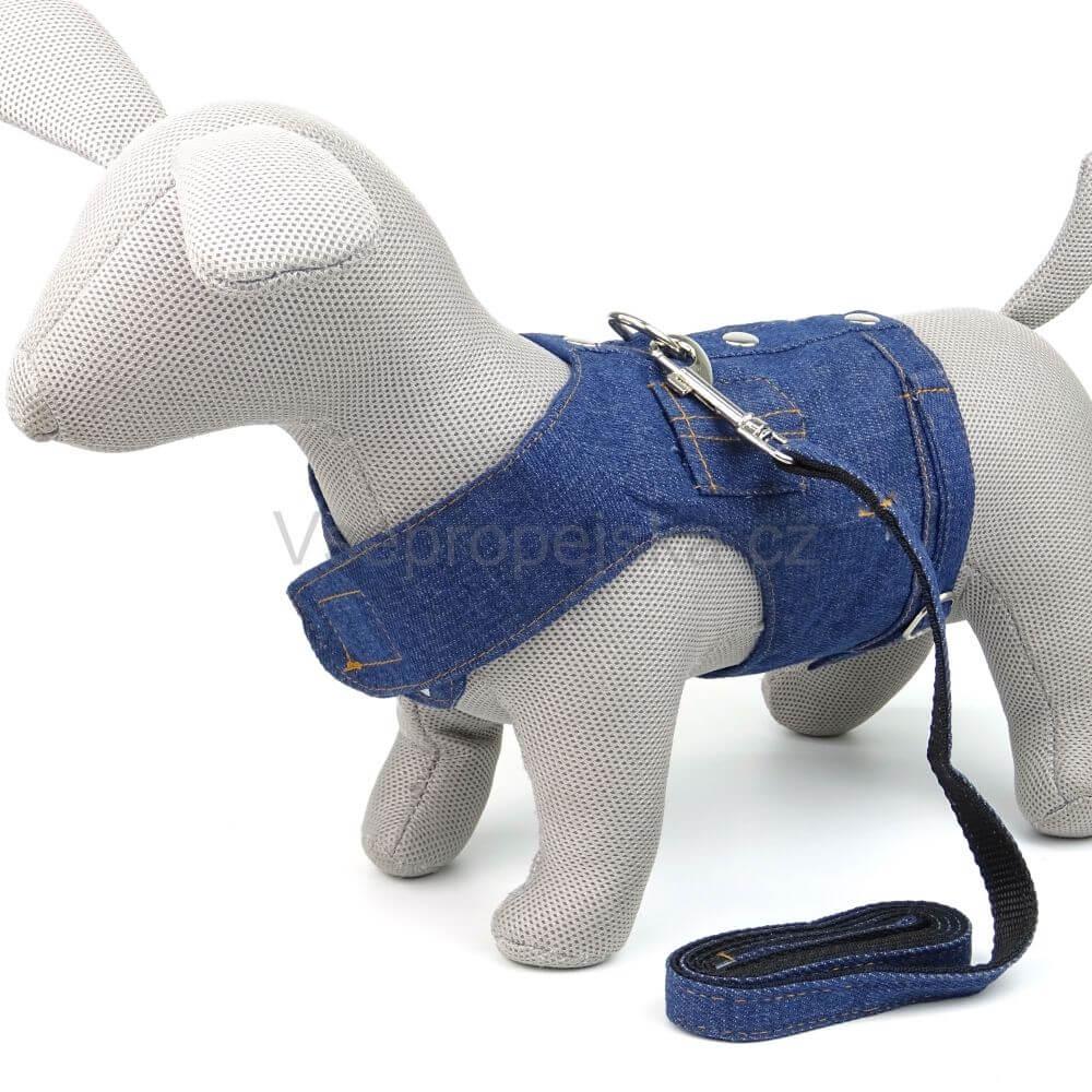 Vsepropejska Riflová vesta pro psa s vodítkem | 36 – 45 cm Barva: Modrá, Obvod hrudníku: 36 - 40 cm