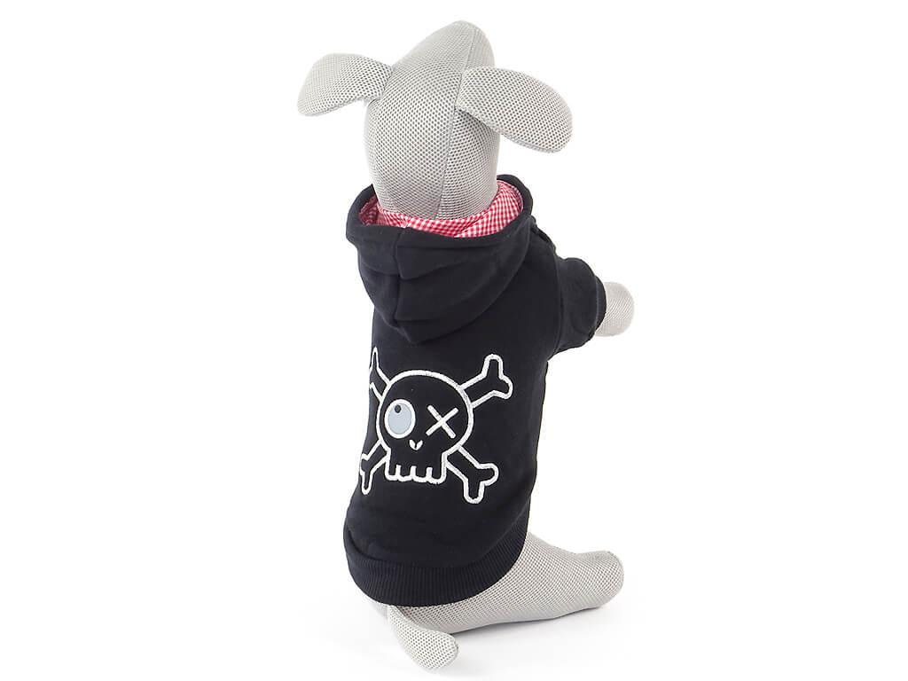 Levně Vsepropejska Atos černá pirátská mikina pro psa Délka zad psa: 25 cm, Obvod hrudníku: 32 - 38 cm