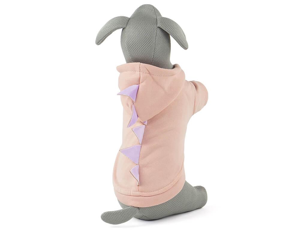 Levně Vsepropejska Dino mikina pro psa s kapucí Barva: Růžová, Délka zad psa: 20 cm, Obvod hrudníku: 24 - 30 cm
