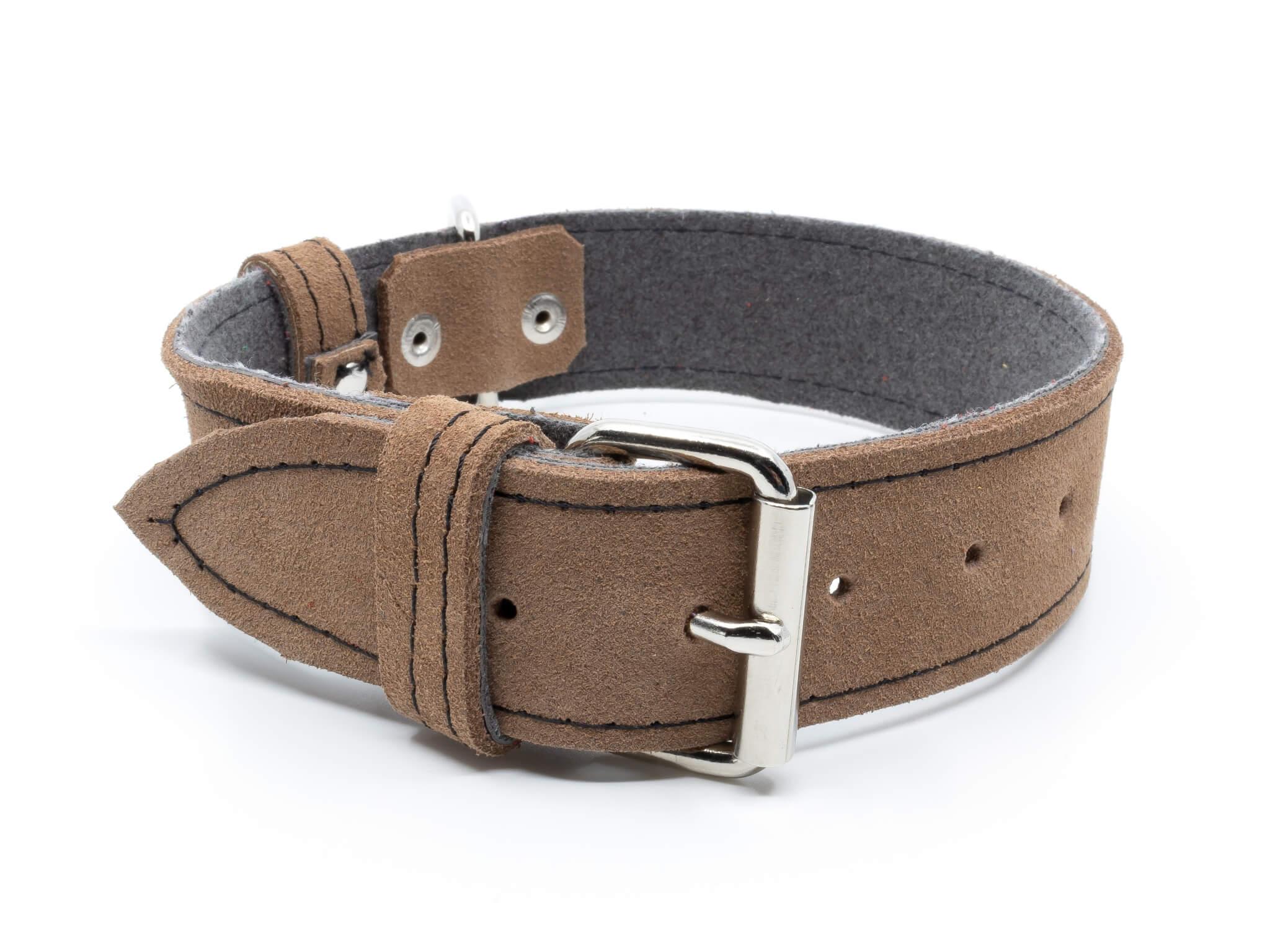 Palkar Velur kožený obojek pro psa | 16 – 46 cm Barva: Béžová, Obvod krku: 39 - 46,5 cm