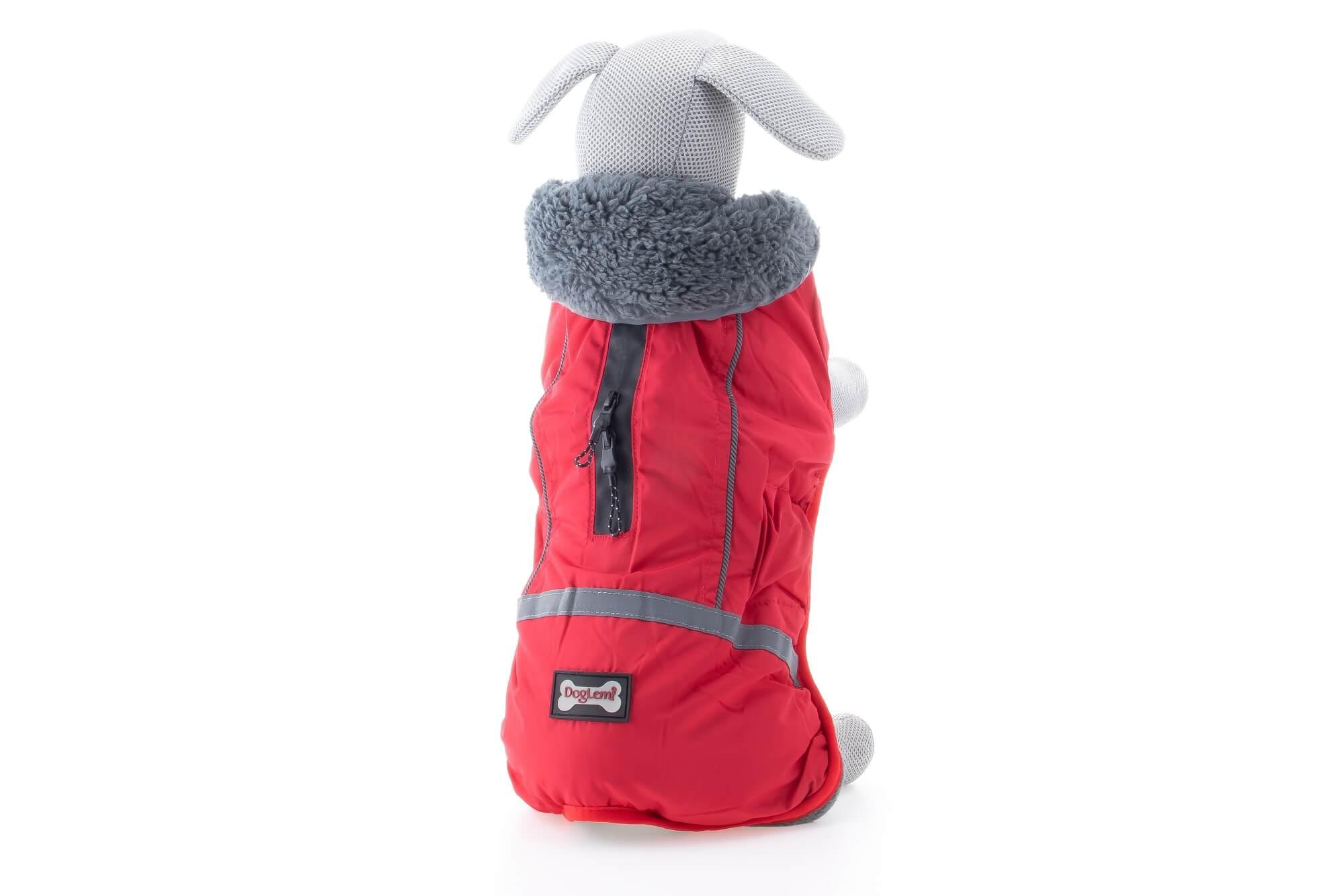 Vsepropejska Rafael bunda pro psa s kožíškem Barva: Červená, Délka zad psa: 29 cm, Obvod hrudníku: 34 - 55 cm