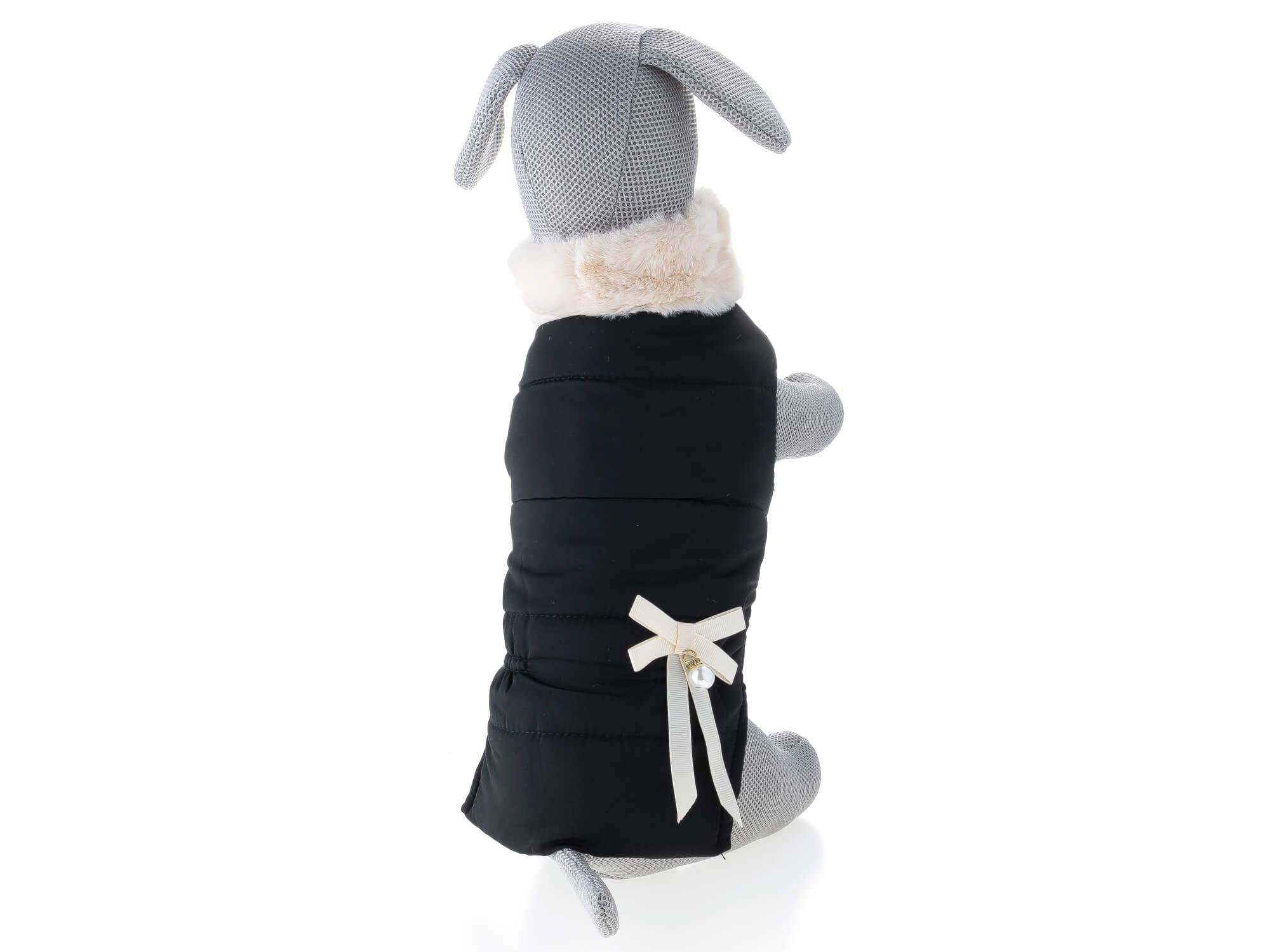 Vsepropejska Stejsi černá bunda pro psa s kožíškem Délka zad psa: 19 cm, Obvod hrudníku: 24 - 28 cm