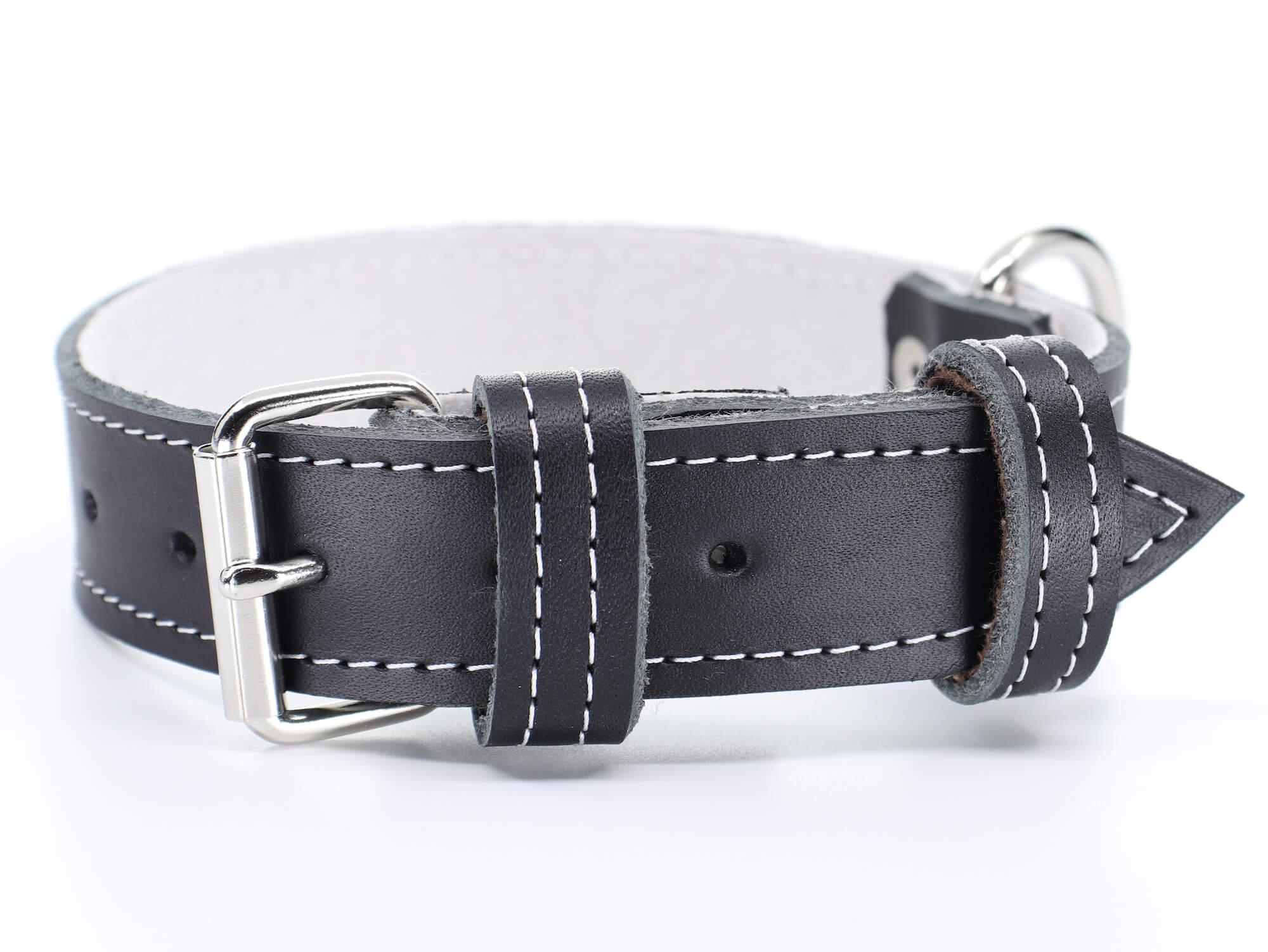 Palkar Natur kožený obojek pro psa | 22 – 65 cm Barva: Černá, Obvod krku: 47 - 55,5 cm, Šířka: 3 cm