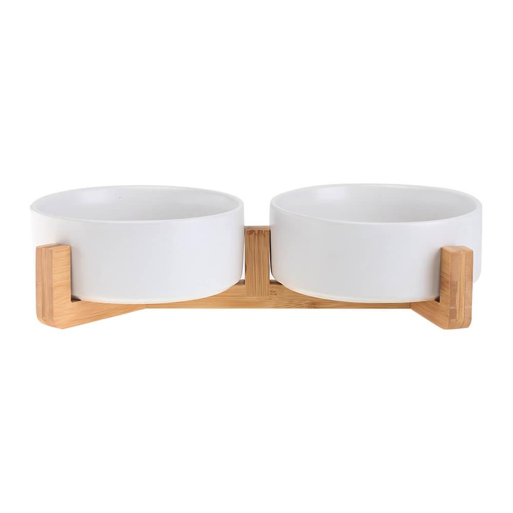 Levně Vsepropejska Tella dvojitá keramická miska pro psa Barva: Bílá, Rozměr: 12 cm