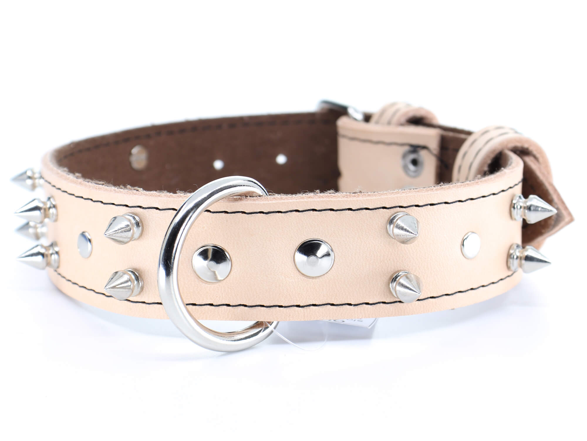 Palkar Apex kožený obojek pro psa s hroty   33 – 65 cm Barva: Béžová, Obvod krku: 39 - 48 cm, Šířka: 4 cm