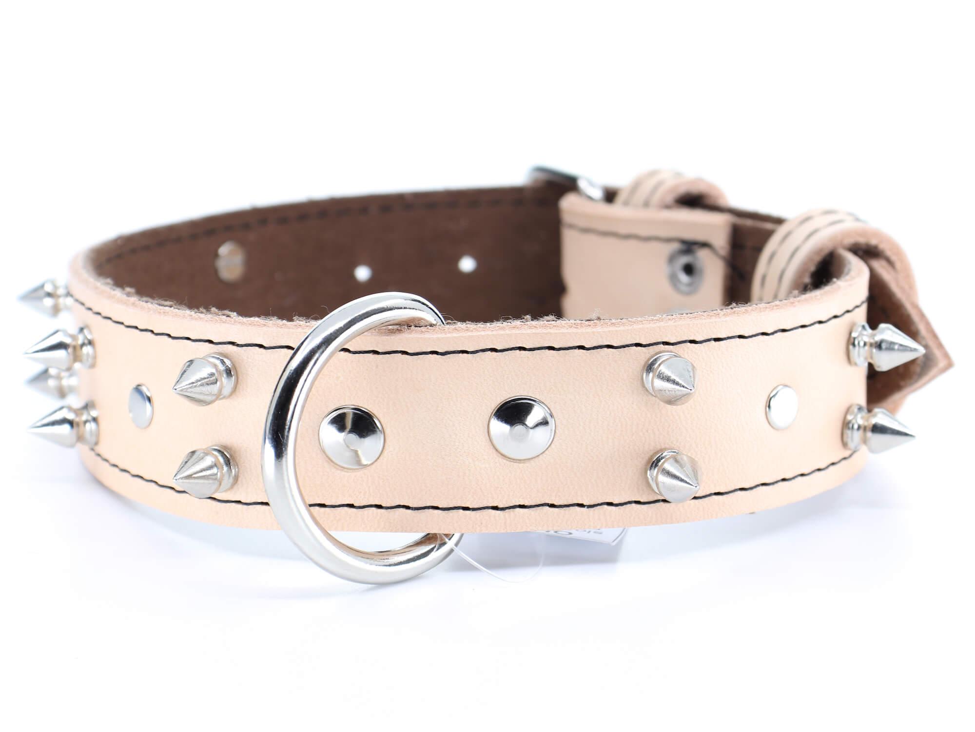 Palkar Apex kožený obojek pro psa s hroty | 22 – 65 cm Barva: Béžová, Obvod krku: 47,5 - 56 cm, Šířka: 2,5 cm