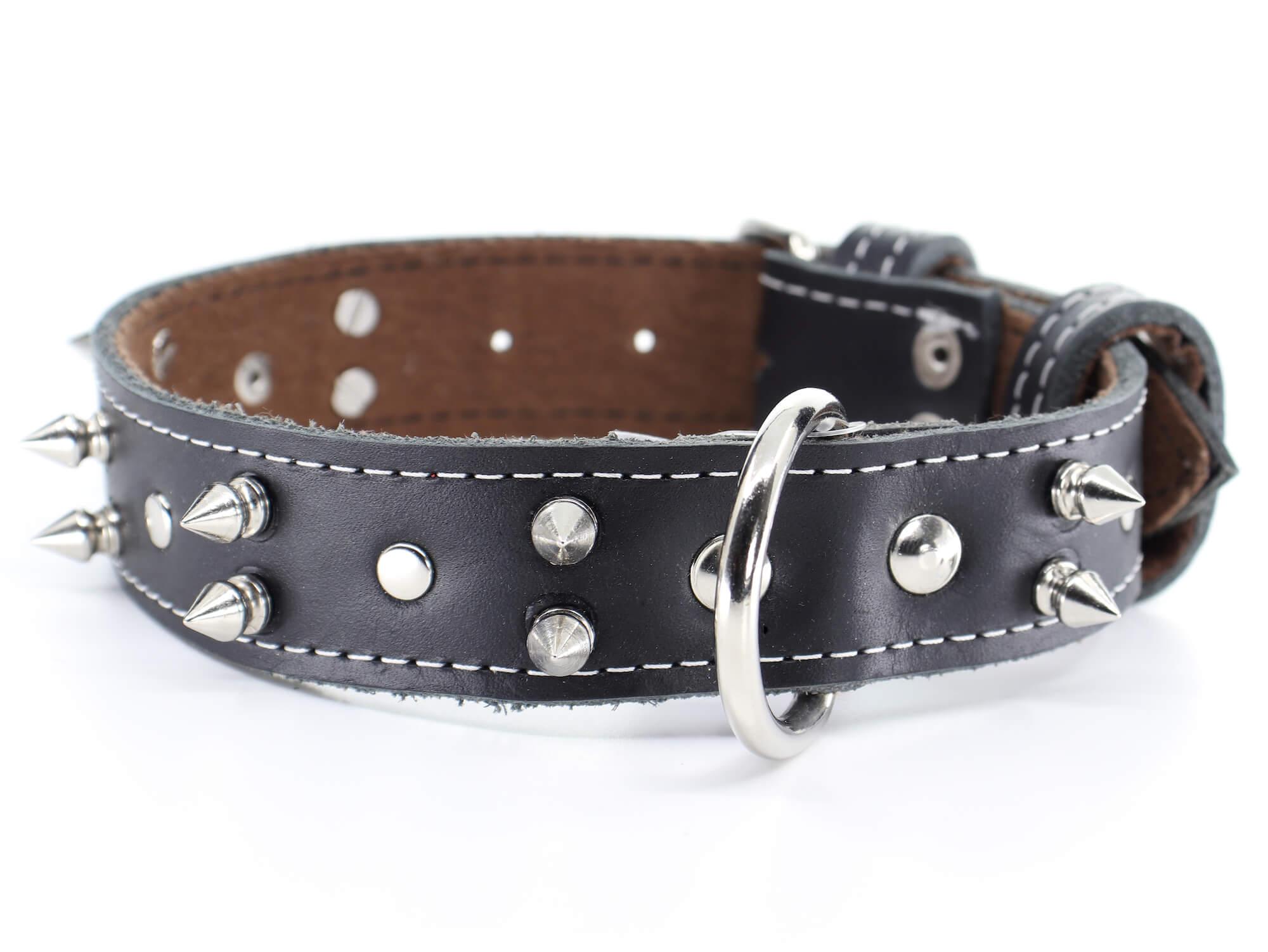 Palkar Apex kožený obojek pro psa s hroty | 22 – 65 cm Barva: Černá, Obvod krku: 46,5 - 55 cm, Šířka: 3 cm
