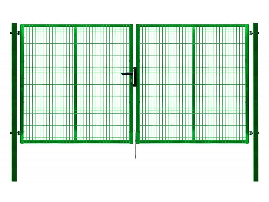 Brána Pilofor 3D zelená se zámkem FAB, šířka 4118 Výška v mm:: 1245 mm