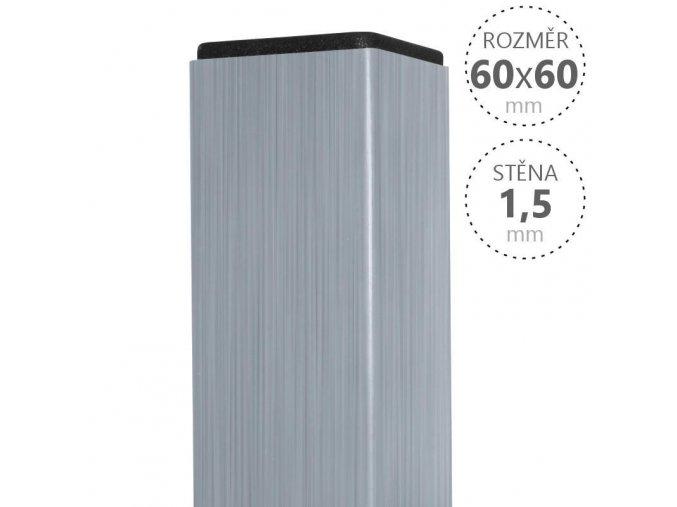Sloupek zinkovaný 60/60/1,5mm, výška dle výběru, vč.krytky 60x60