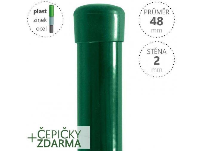 Plotový sloupek DAMIPLAST® zelený ZN+PVC, průměr 48mm, síla stěny 2,0mm, výška dle výběru