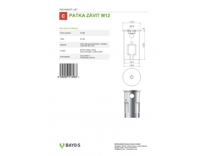 51308 TL PATKA ZÁVIT M12