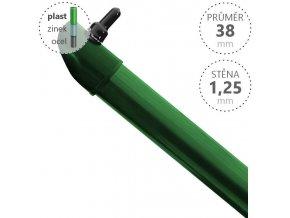 Vzpěra DAMIPLAST® zelená Zn+PVC, průměr 38mm, síla stěny 1,25mm, různé délky