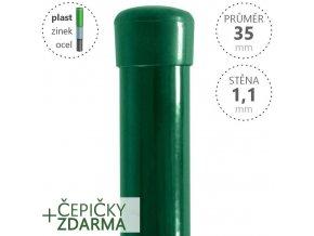 Plotový sloupek DAMIPLAST® zelený Zn+PVC, průměr 35mm, síla stěny 1,1mm, výška dle výběru