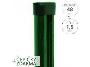 Sloupek s montážní lištou PILCLIP® poplastovaný 48mmx1,5mm x různé délky zelený