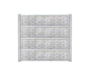 Betonový panel rovný oboustranný cihla ostrá 200 x 50 x 4,5 cm - přírodní