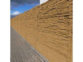 Betonový panel rovný oboustranný štípaný kámen 200 x 25 x 4,5 cm - pískovec