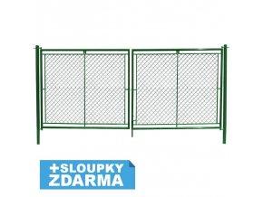 Zahradní brána dvoukřídlová s okem na visací zámek š. 3600 x v. dle výběru / celovýplet vč. sloupků