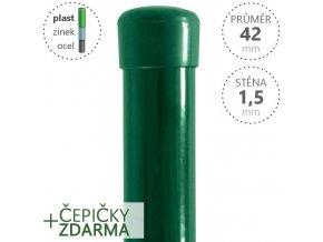 Plotový sloupek DAMIPLAST® zelený Zn+PVC, průměr 42mm, síla stěny 1,5mm, výška dle výběru