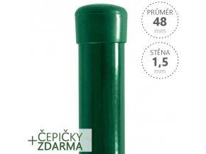 Plotový sloupek DAMIPLAST® zelený Zn + PVC, průměr 48mm, síla stěny 1,5mm, výška dle výběru