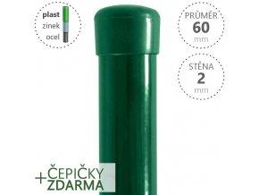 Plotový sloupek DAMIPLAST® zelený Zn+PVC, průměr 60mm, síla stěny 2,0mm, výška dle výběru