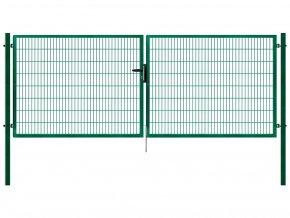 Dvoukřídlá brána Pilofor Super 2D š. 4138 mm x v. dle výběru, se zámkem zelená RAL6005