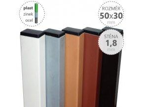 Nosník zinkovaný a poplastovaný nosník DAMIPLAST® 50x30x1,8x6100 mm, celé tyče, barva: dle výběru