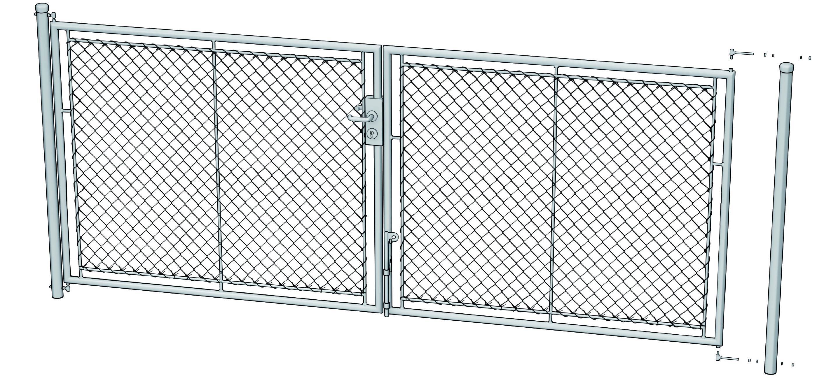 Zahradní brána celovýplet šířka 3600 mm x výška 2000mm s přípravou na FAB vč. sloupků Výška v mm:: 1000