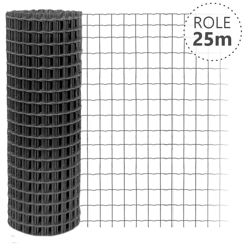 Svařované pletivo Pilonet Middle, oko 50 x 100mm, síla drátu 2,5mm, barva antracit Výška v mm:: 1800 mm, Délka role v m:: 25 m